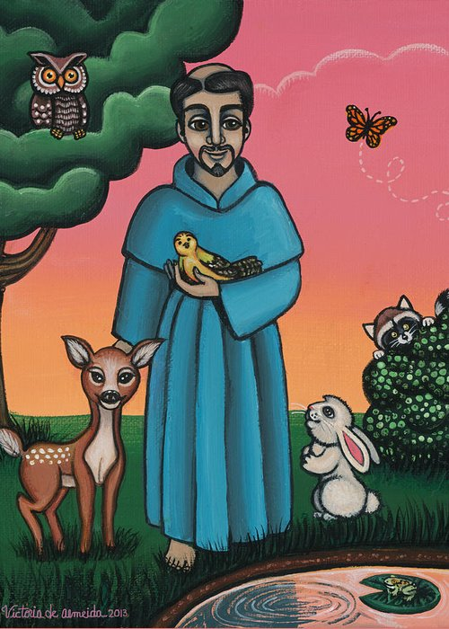 St. Francis Greeting Card featuring the painting St. Francis Animal Saint by Victoria De Almeida