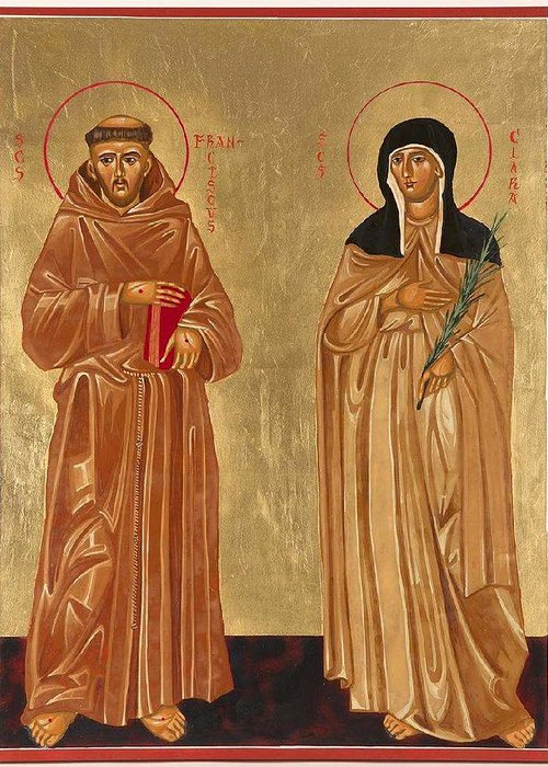 Icons Greeting Card featuring the painting St. Francis Of Assisi And St. Clare by Joseph Malham