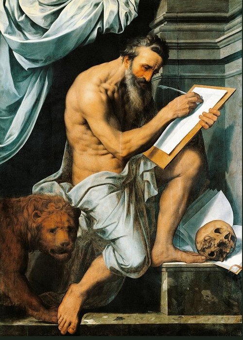 Saint Greeting Card featuring the painting St. Jerome by Willem Key