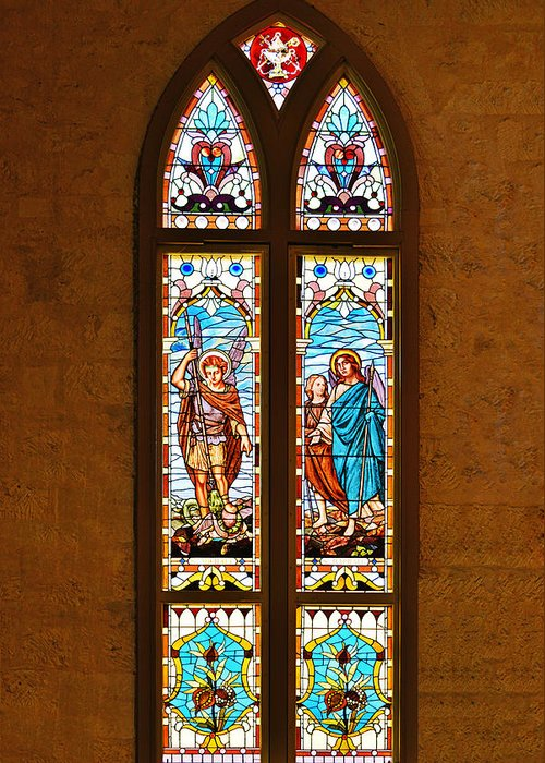Stained Glass Windows Greeting Card featuring the photograph St Michael And St Raphael by Christine Till