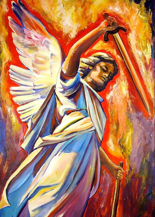 St. Michael The Archangel Greeting Card featuring the painting St. Michael by Sheila Diemert