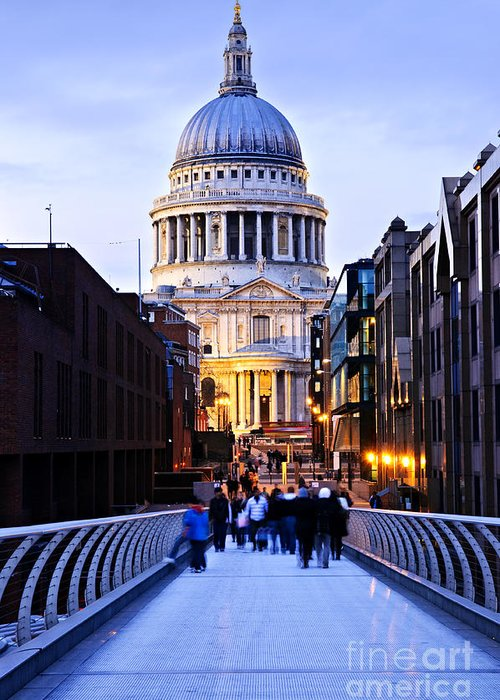 Saint Greeting Card featuring the photograph St. Paul's Cathedral London At Dusk by Elena Elisseeva