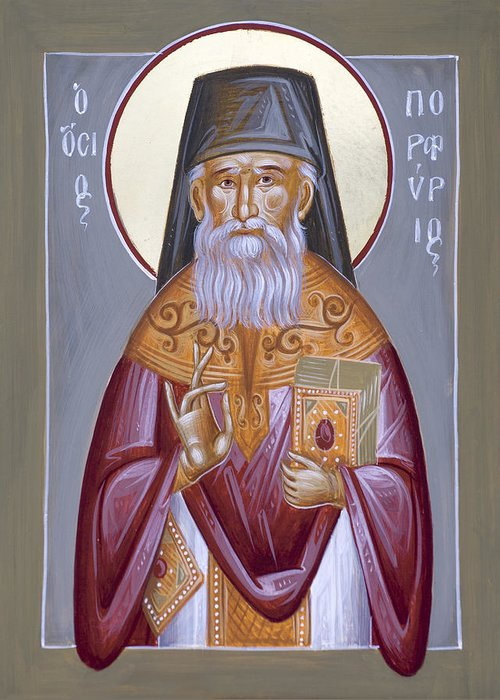 St Porphyrios Greeting Card featuring the painting St Porphyrios The Kavsokalyvitis by Julia Bridget Hayes