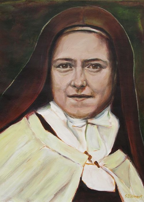 St. Therese Greeting Card featuring the painting St. Therese Of Lisieux by Sheila Diemert