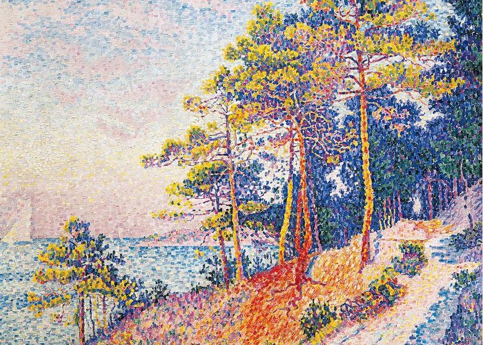 Art Greeting Card featuring the painting St Tropez The Custom's Path by Paul Signac