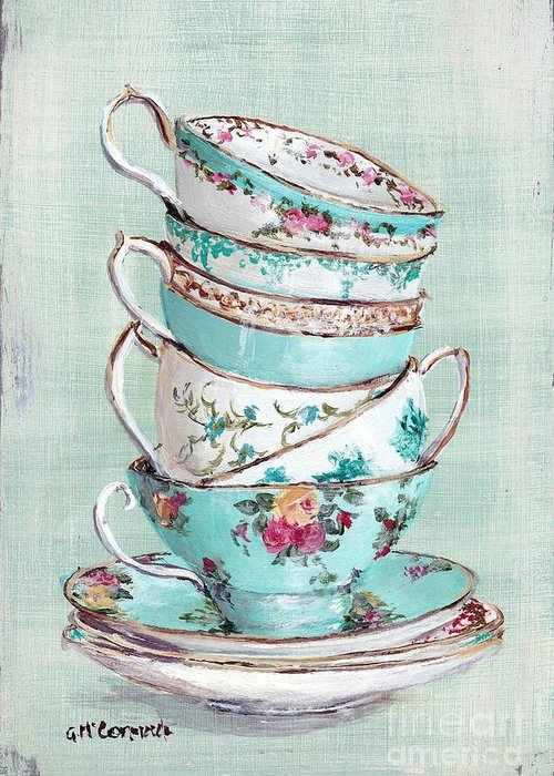 Aqua Themed Tea Cups Greeting Card featuring the painting Stacked Aqua Themed Tea Cups by Gail McCormack
