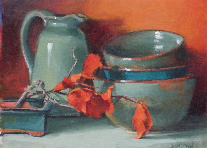 Representational Greeting Card featuring the painting Stacked Bowls #4 by Jean Crow