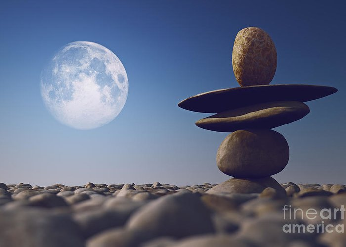 Stones Greeting Card featuring the photograph Stacked Stones In Sunlight Witt Moon by Aleksey Tugolukov