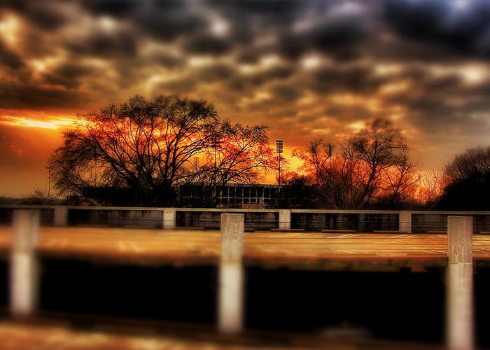 Sunset Greeting Card featuring the photograph Stadium Sunset by Jim Albritton