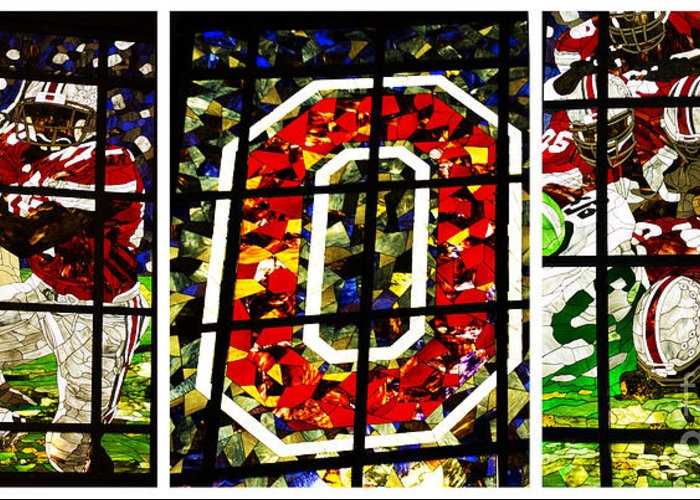 Stained Glass Greeting Card featuring the photograph Stained Glass At The Horseshoe by David Bearden