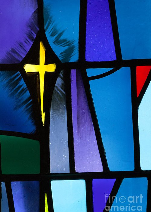 Christ Greeting Card featuring the photograph Stained Glass Cross by Karen Lee Ensley