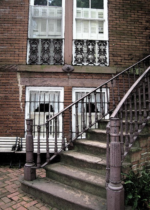 Staircase Greeting Card featuring the photograph Staircase And Shutters by Linda Ryan