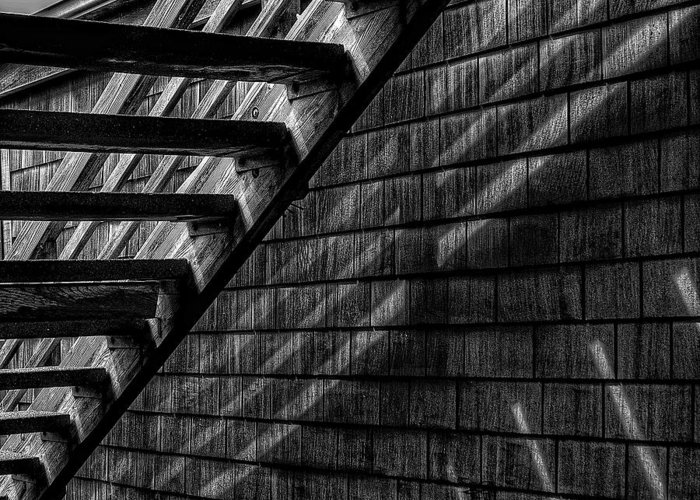 Black And White Greeting Card featuring the photograph Stairs by David Patterson