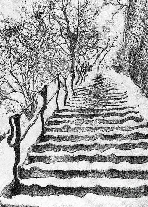 Budapest Greeting Card featuring the painting Stairs In Winter by Odon Czintos