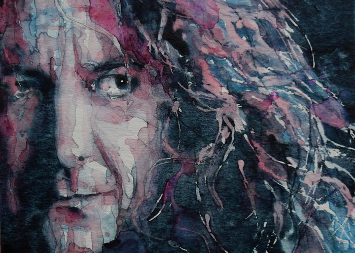 Robert Plant Greeting Card featuring the painting Stairway To Heaven by Paul Lovering