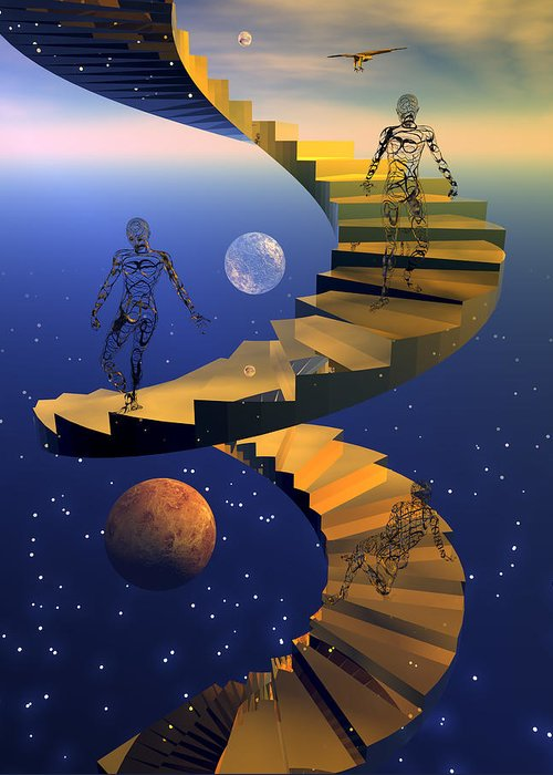 Bryce Greeting Card featuring the digital art Stairway To Imagination by Claude McCoy