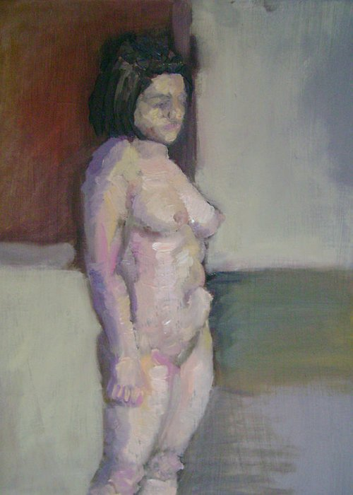 Stand Greeting Card featuring the painting Standing Figure by Cynthia Harvey
