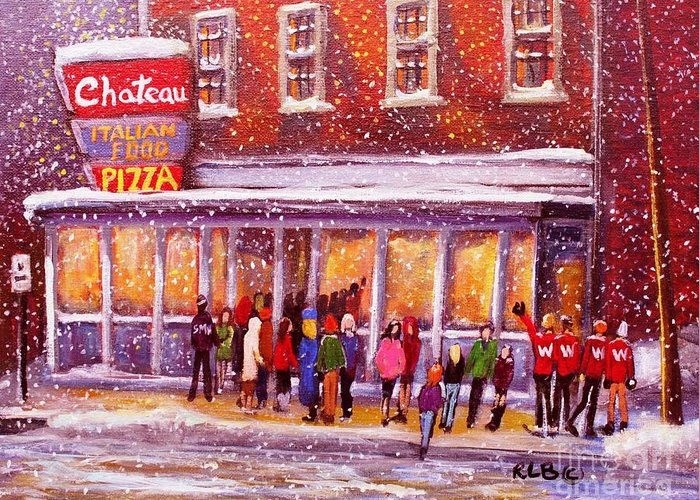 Chateau Restaurant Greeting Card featuring the painting Standing In Line At The Chateau by Rita Brown