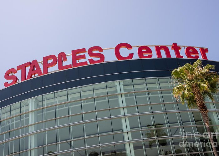 America Greeting Card featuring the photograph Staples Center Sign In Los Angeles California by Paul Velgos