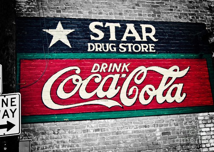 Coke Greeting Card featuring the photograph Star Drug Store Wall Sign by Scott Pellegrin