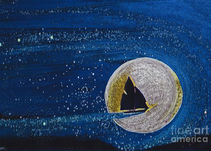 First Star Art Greeting Card featuring the painting Star Sailing By Jrr by First Star Art