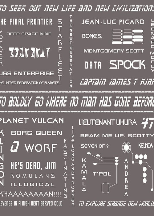 Star Trek Greeting Card featuring the digital art Star Trek Remembered In Grey by Georgia Fowler