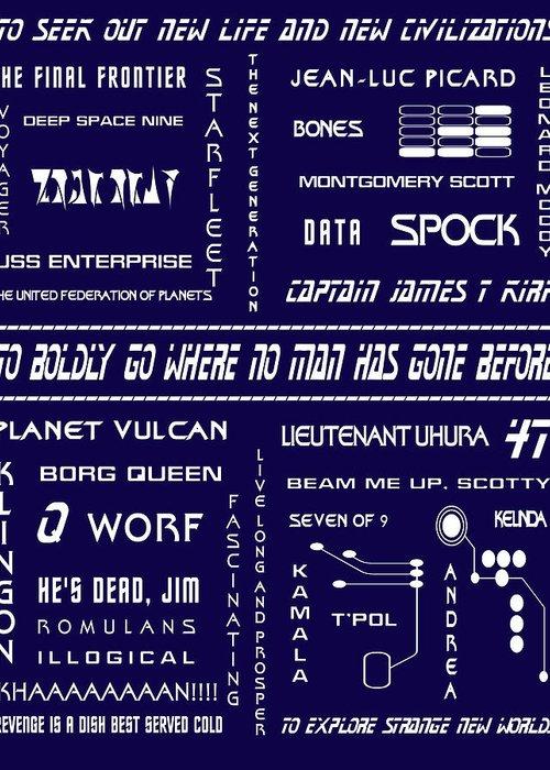 Star Trek Greeting Card featuring the digital art Star Trek Remembered In Navy Blue by Georgia Fowler