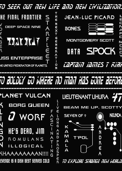 Star Trek Greeting Card featuring the digital art Star Trek Remembered by Georgia Fowler