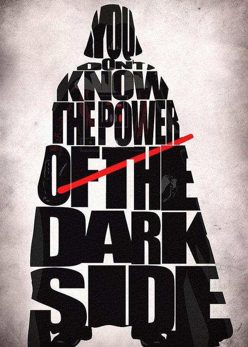 Darth Vader Greeting Card featuring the drawing Star Wars Inspired Darth Vader Artwork by Ayse Deniz
