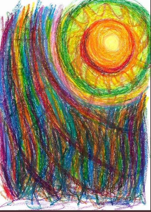 Oil Greeting Card featuring the drawing Starburst - The Nebular Dawning Of A New Myth And A New Age by Daina White