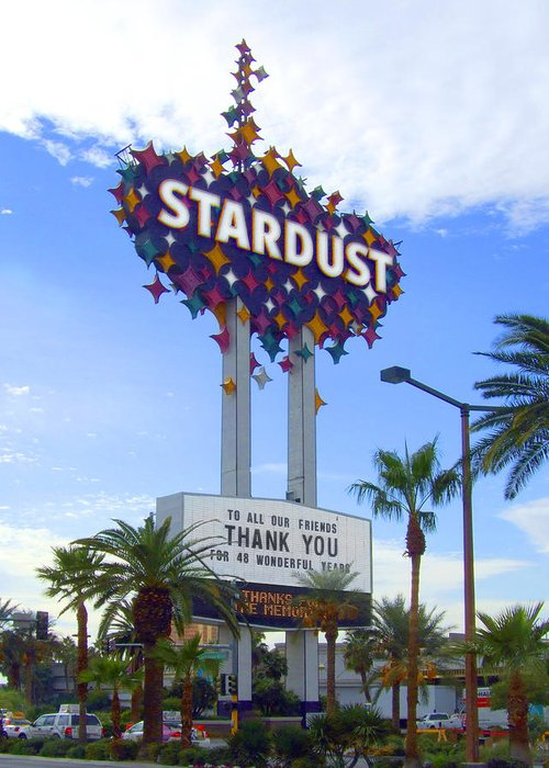 Las Vegas Greeting Card featuring the photograph Stardust Sign by Mike McGlothlen