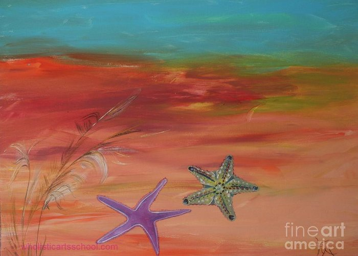 Starfish Greeting Card featuring the painting Starfish by PainterArtist FIN