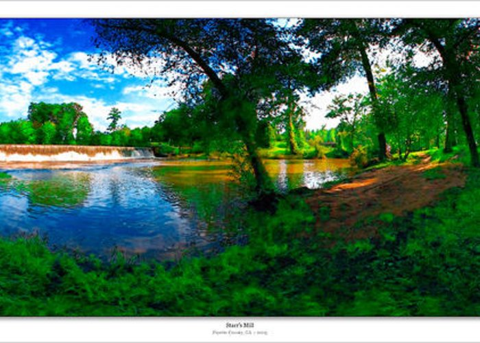 Historic Greeting Card featuring the photograph Starrs Mill 360 Panorama by Lar Matre
