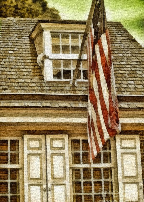 Stars And Tripes Greeting Card featuring the painting Stars And Stripes by Mo T