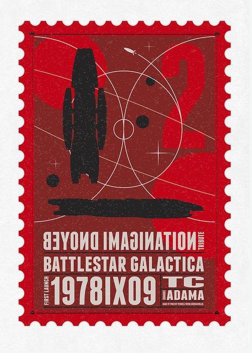 Minimal Greeting Card featuring the digital art Starschips 02-poststamp - Battlestar Galactica by Chungkong Art