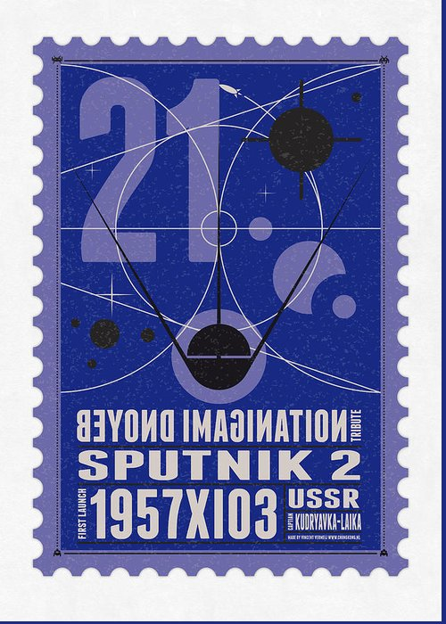 Minimal Greeting Card featuring the digital art Starschips 21- Poststamp - Sputnik 2 by Chungkong Art