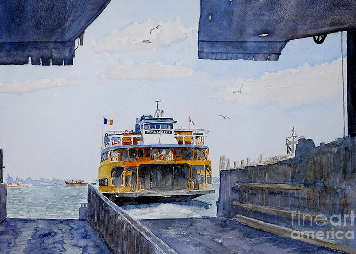 Boat Greeting Card featuring the painting Staten Island Ferry Docking by Anthony Butera
