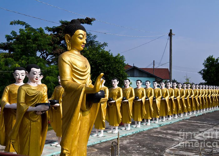 Ancient Greeting Card featuring the photograph Statue Of Buddha And Disciples Are Alms Round by Tosporn Preede