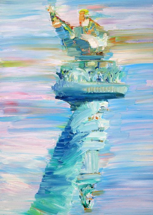 Statue Greeting Card featuring the painting Statue Of Liberty - The Torch by Fabrizio Cassetta