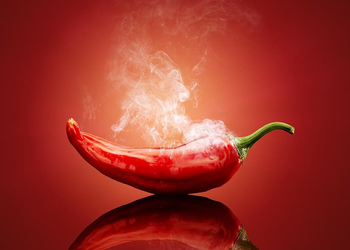 Chilli Greeting Card featuring the photograph Steaming Hot Chilli by Johan Swanepoel