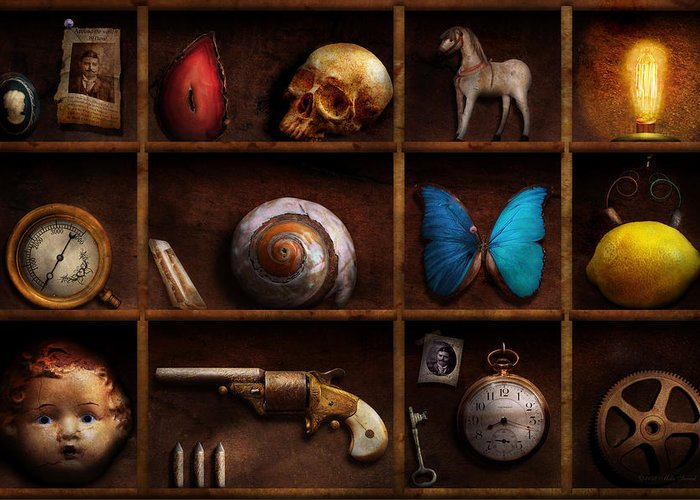 Steampunk Greeting Card featuring the photograph Steampunk - A Box Of Curiosities by Mike Savad