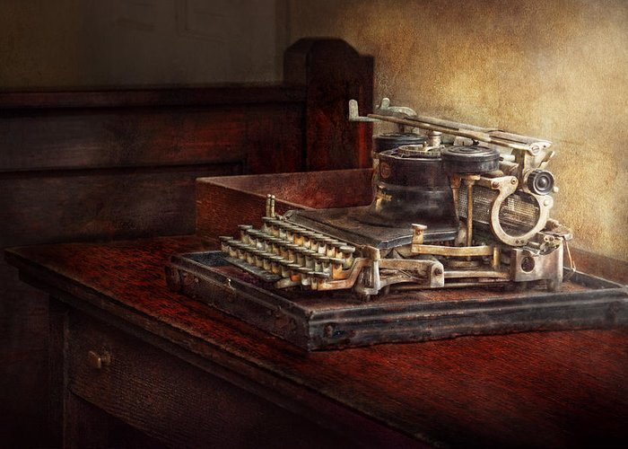 Steampunk Greeting Card featuring the photograph Steampunk - A Crusty Old Typewriter by Mike Savad