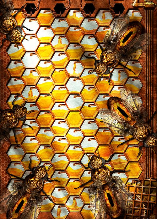 Self Greeting Card featuring the photograph Steampunk - Apiary - The Hive by Mike Savad