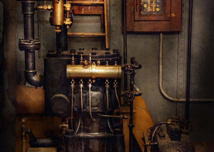 Hdr Greeting Card featuring the photograph Steampunk - Back In The Engine Room by Mike Savad