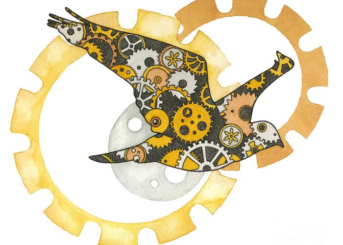 Bird Greeting Card featuring the painting Steampunk Bird by Nora Blansett