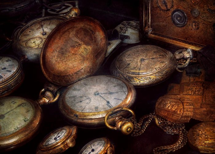 Steampunk Greeting Card featuring the photograph Steampunk - Clock - Time Worn by Mike Savad
