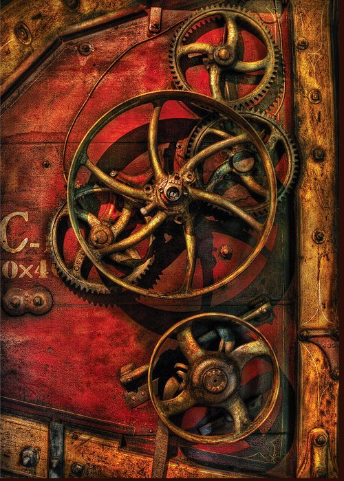 Savad Greeting Card featuring the photograph Steampunk - Clockwork by Mike Savad
