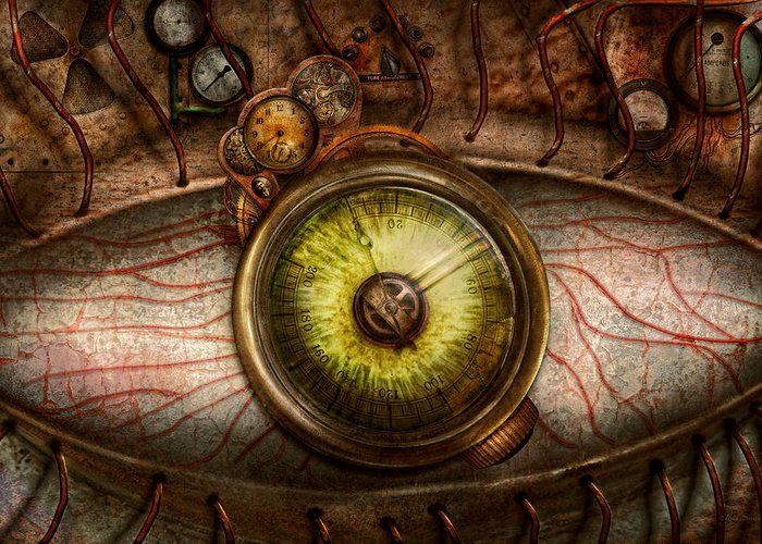 Self Greeting Card featuring the photograph Steampunk - Creepy - Eye On Technology by Mike Savad