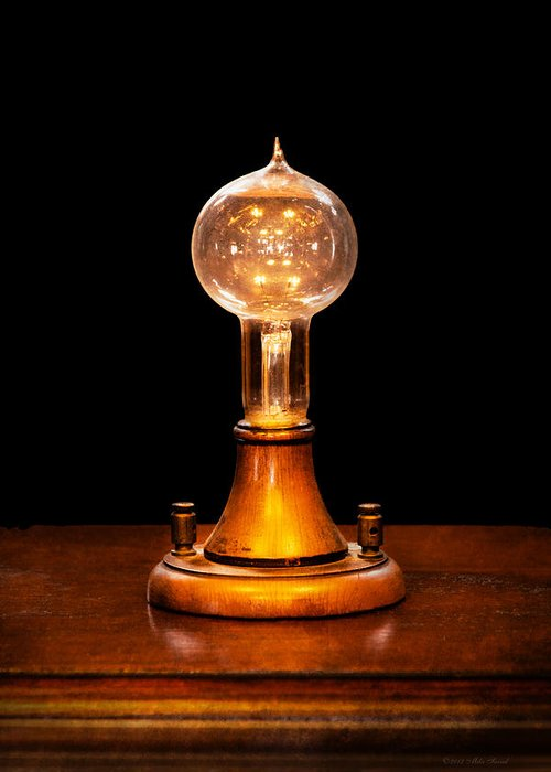 Thomas Greeting Card featuring the photograph Steampunk - Electricity - Bright Ideas by Mike Savad