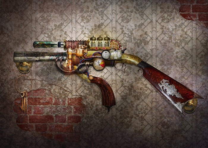 Steampunk Greeting Card featuring the photograph Steampunk - Gun - The Sidearm by Mike Savad